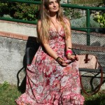 long floral pink dress