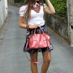 pink bag and flowers