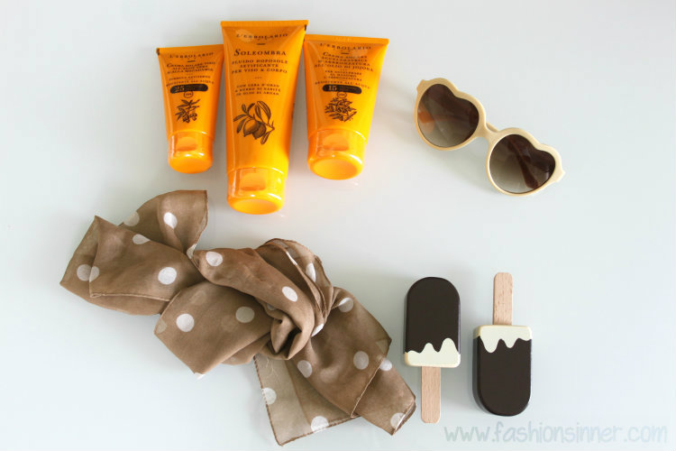 solartans cream - L'Erbolario / sunnies - Lolita Lempicka / ice cream - Tiger